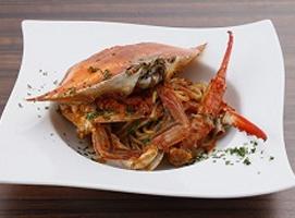 渡り蟹トマトソースパスタ
